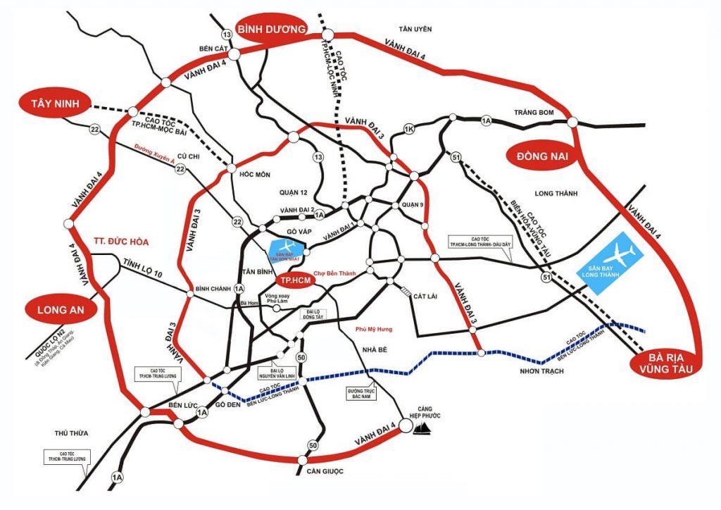 Bản đồ vành đai 3 và 4 TP HCM